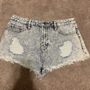 Forever 21 High Waist Distress Acid Wash Shorts